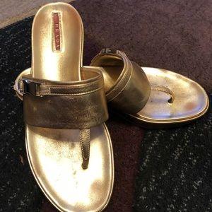 Prada Gold metallic sandal